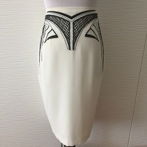 Bebe Embellished Skirt in White